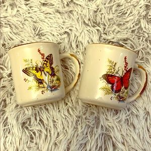Two butterfly coffee mugs vintage 1970s